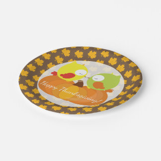 Colorful Fall Owls Paper Plate
