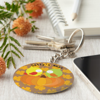 Colorful Fall Owls Personalized Key Ring
