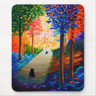 Colorful Fall Trees Landscape Black Cats Mouse Pad