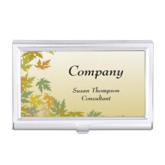 Colorful Falling Autumn Leaves Business Card Holder