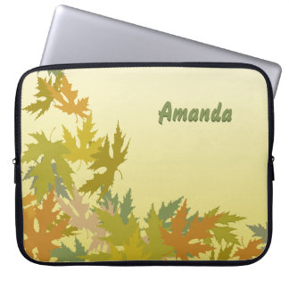 Colorful Falling Autumn Leaves Laptop Sleeve