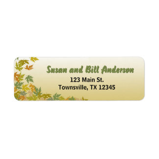 Colorful Falling Autumn Leaves Return Address Label