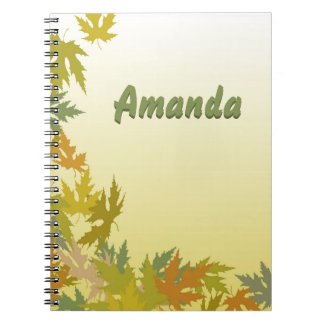Colorful Falling Autumn Leaves Spiral Notebook