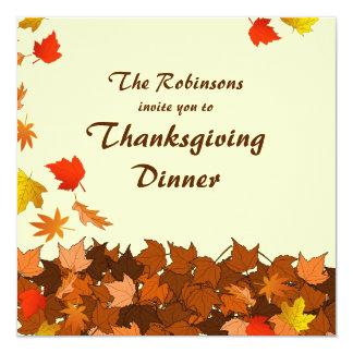Colorful Falling Leaves Thanksgiving Dinner Invite