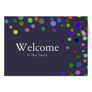 Colorful Falling Sparkles Polka Dots Welcome Card