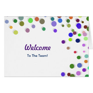 Colorful Falling Sparkles Polka Dots Welcome Greeting Card