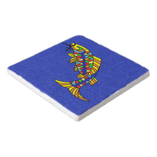 Colorful Fancy Abstract Fish Trivet