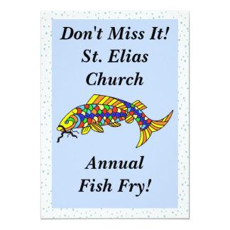 Colorful Fancy Fish Fry 13 Cm X 18 Cm Invitation Card