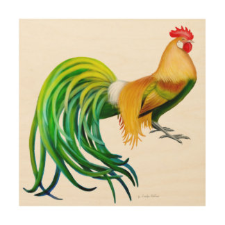 Colorful Fancy Phoenix Rooster Wood Wall Art Wood Canvases