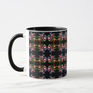 colorful fancy roses floral bouquet coffee mug
