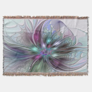 Colorful Fantasy Abstract Modern Fractal Flower