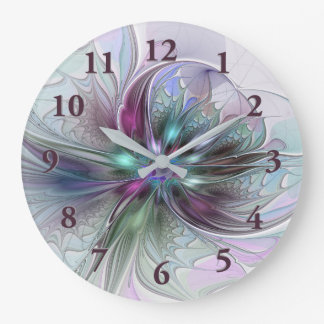 Colorful Fantasy Abstract Modern Fractal Flower Clock