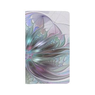 Colorful Fantasy Abstract Modern Fractal Flower Large Moleskine Notebook