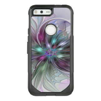 Colorful Fantasy Abstract Modern Fractal Flower OtterBox Commuter Google Pixel Case