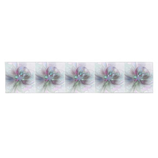 Colorful Fantasy Abstract Modern Fractal Flower Short Table Runner