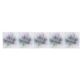 Colorful Fantasy Abstract Modern Fractal Flower Short Table Runner