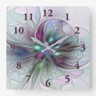 Colorful Fantasy Abstract Modern Fractal Flower Square Wall Clock