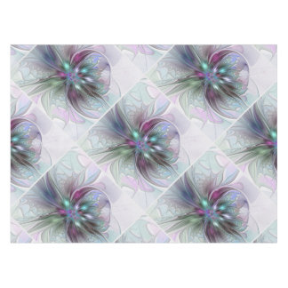 Colorful Fantasy Abstract Modern Fractal Flower Tablecloth