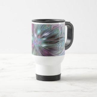 Colorful Fantasy Abstract Modern Fractal Flower Travel Mug