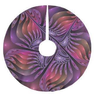Colorful Fantasy Abstract Modern Purple Fractal Brushed Polyester Tree Skirt