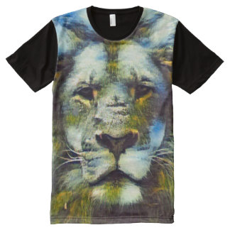 Colorful Fantasy Lion Acrylic Paint All-Over Print T-Shirt