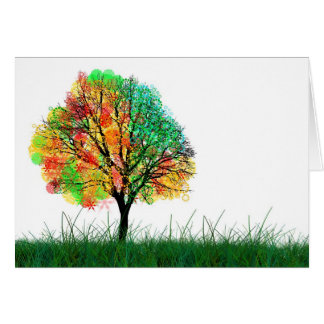 Colorful Fantasy Tree Illustration Greeting Card