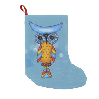 Colorful Fantasy Whimsical Owl Small Christmas Stocking