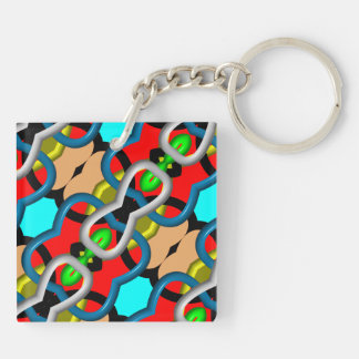 Colorful fashion abstract pattern Double-Sided square acrylic key ring
