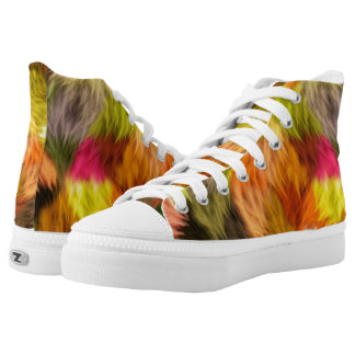Colorful Faux Fur Abstract Art Zipz High Top Shoes