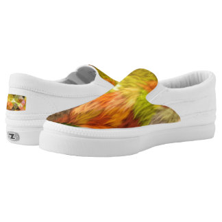 Colorful Faux Fur Abstract Art Zipz Slip On Shoes