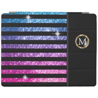 Colorful Faux Glitter & Black Stripes | Monogram iPad Cover