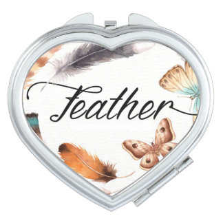 Colorful Feather Butterfly Watercolor Vanity Mirror