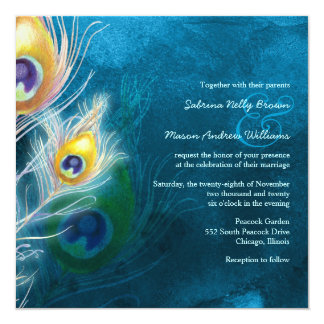 Colorful Feathers Peacock Theme Wedding 13 Cm X 13 Cm Square Invitation Card