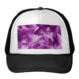 colorful feathers purple trucker hat
