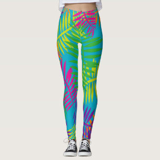 Colorful Fern Abstract Textile Leggings