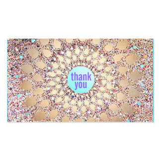 Colorful Festive Glitter Purple Thank You Insert Pack Of Standard Business Cards
