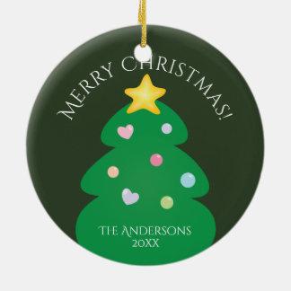 Colorful Festive Merry Christmas Tree Christmas Ornament