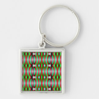 colorful festive pattern Silver-Colored square key ring