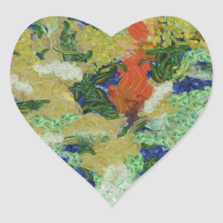 Colorful field destroyed heart sticker