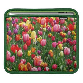 Colorful Field Of Tulips Flowers iPad Sleeve