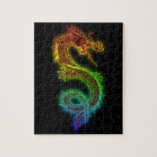 Colorful fierce dragon jigsaw puzzle