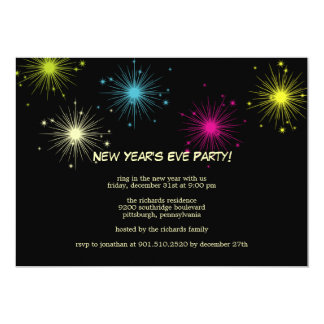 Colorful Fireworks New Year's Eve Party Invitation