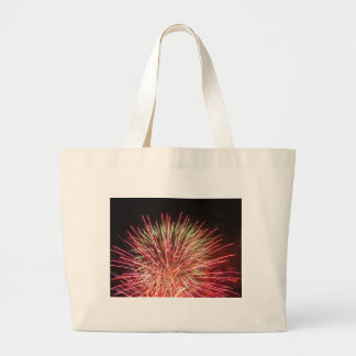 Colorful fireworks of various colors light up the large tote bag
