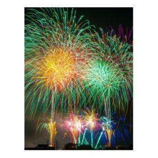 Colorful fireworks postcard