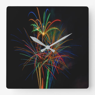 Colorful fireworks wall clocks