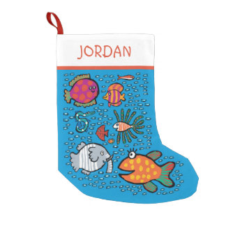 Colorful Fish Friends Small Christmas Stocking