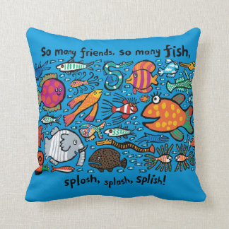 Colorful Fish Friends Throw Pillow