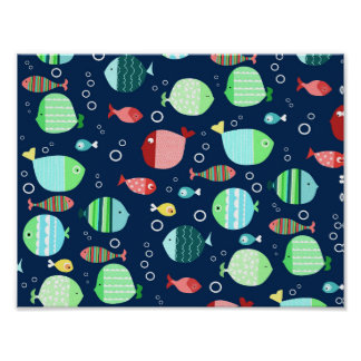 Colorful fish pattern poster