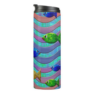 Colorful fish riding waves on Thermal tumbler