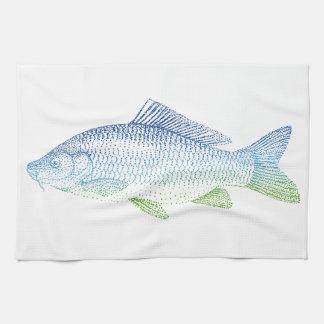 colorful fish silhouette tea towel